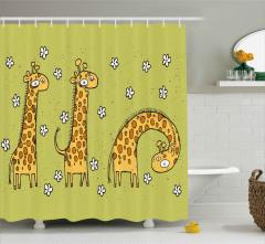Zürafalar ve Papatyalar Duş Perdesi Karikatür