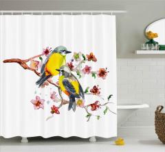 Sarı Karınlı Kuşlar Desenli Duş Perdesi Sevimli