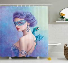 Maskeli Mavi Kız Duş Perdesi Ejderha Dekoratif