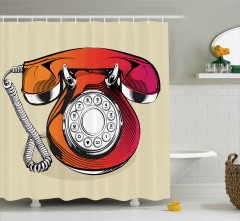 Çevirmeli Telefon Duş Perdesi Turuncu Pembe