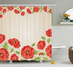Pembe Kırmızı Çiçekler Duş Perdesi Dekoratif