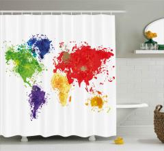 Boyalar ile Dünya Haritası Duş Perdesi Kıtalar
