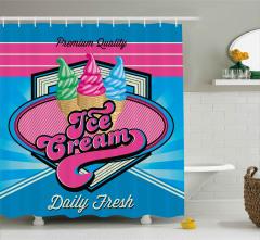 Retro Dondurmacı Tabelası Duş Perdesi Dekoratif