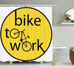 Bisiklete Binin İlanı Duş Perdesi Dekoratif