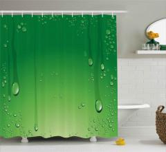 Yeşil Zemin Üzerinde Damlalar Duş Perdesi Dekoratif