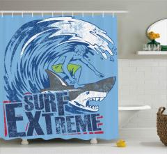 Köpek Balığında Sörf Duş Perdesi Dalgalı Deniz