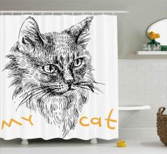 Monokrom Tarama Kedi Desenli Duş Perdesi Benim Kedim