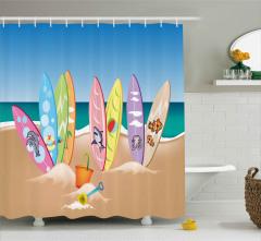 Hayvan Desenli Sörf Tahtaları Duş Perdesi Kumsal