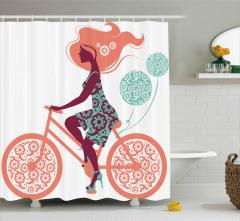 Balonlar ve Bisikletli Kız Duş Perdesi Çiçek Desenli