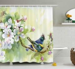 Tepeli Minik Kuşlar Duş Perdesi Meyve Çiçekleri