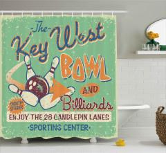 Bowling ve Bilardocu Tabelası Duş Perdesi Nostaljik