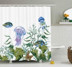 Denizanası ve Balıklar Duş Perdesi Yosunlar