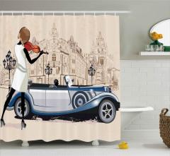 Keman Çalan Kız Desenli Duş Perdesi Klasik Otomobil