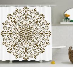 Dairesel Kahverengi Çiçek Desenli Duş Perdesi Şık