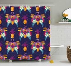 Tukan Kuşu ve Ananas Duş Perdesi Dekoratif