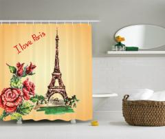 Eyfel Kulesi Manzaralı Duş Perdesi Romantik Güller