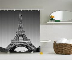 Eyfel Kulesi Manzaralı Duş Perdesi Siyah Beyaz