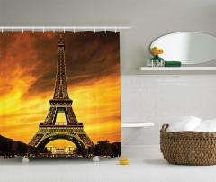Paris'te Gün Batımı Manzaralı Duş Perdesi Romantik