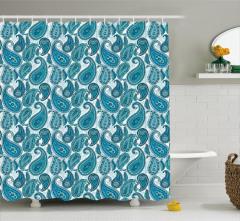Doğu Esintili Duş Perdesi Mavi Şal Desenli Çeyizlik
