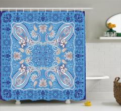 Mavi Çiçek Temalı Duş Perdesi Şal Desenli Otantik