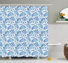 Mavi Beyaz Çiçekli Duş Perdesi Şal Desenli Çeyizlik