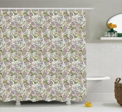 Yeşil ve Pembe Çiçekli Duş Perdesi Şal Desenli