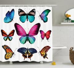 Rengarenk Kelebek Desenli Duş Perdesi Çeyizlik