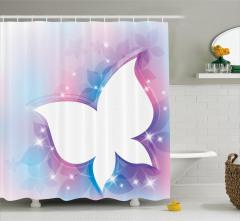 Işıltılı Kelebekler Desenli Duş Perdesi Çeyizlik