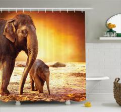 Anne ve Bebek Fil Temalı Duş Perdesi Afrika Yaşamı
