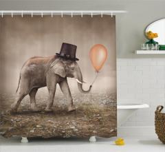 Şapkalı Filli Duş Perdesi Turuncu Balon Yalnızlık