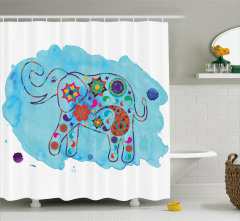 Fil Desenli Duş Perdesi Mavi Sulu Boya Fonlu Çiçek