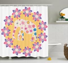 Çiçek ve Fil Desenli Duş Perdesi Rengarenk Sevimli