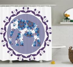 Mavi Fil Desenli Duş Perdesi Mor Çiçek Süslemeli