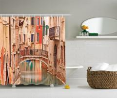 Venedik Romantizmi Temalı Duş Perdesi Kanal Aşk