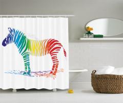 Rengarenk Zebra Desenli Duş Perdesi Beyaz Fonlu