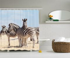 Zebra Desenli Duş Perdesi Afrika'da Yaşam Temalı