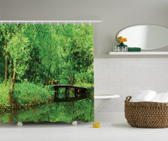Yeşilin Huzuru Temalı Duş Perdesi Ağaç Desenli Doğa