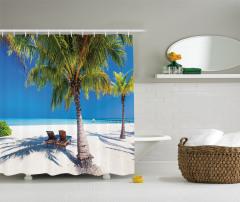 Egzotik Ada Manzaralı Duş Perdesi Palmiye ve Deniz