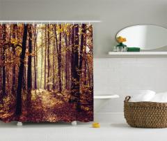 Puslu Sonbahar Temalı Duş Perdesi Ağaç ve Yaprak
