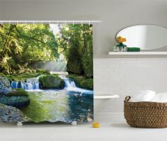 Çağlayan Manzaralı Duş Perdesi Nehir Temalı Yeşil