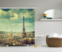 Paris ve Gökyüzü Temalı Duş Perdesi Eyfel Kulesi