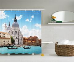 Venedik Gondolları Manzaralı Duş Perdesi Gökyüzü