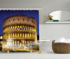 Roma Geceleri Temalı Duş Perdesi Kolezyum Gökyüzü