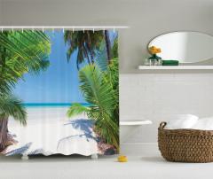 Palmiyeler ve Issız Ada Temalı Duş Perdesi Yaz