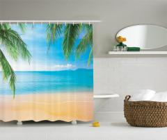Tropikal Kumsal Temalı Duş Perdesi Palmiye Ve Deniz