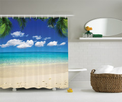 Egzotik Kumsal Temalı Duş Perdesi Bulut Palmiye