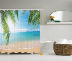 Tropikal Plaj Temalı Duş Perdesi Kumsal ve Deniz