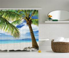 Beyaz Kumlu Plaj Temalı Duş Perdesi Tropikal Ada
