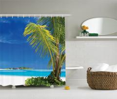 Issız Cennet Temalı Duş Perdesi Egzotik Ada Palmiye