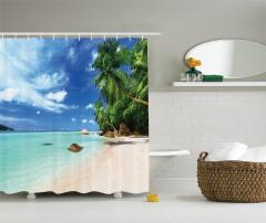 Tropikal Ada Temalı Duş Perdesi Kumsal Deniz Palmiye